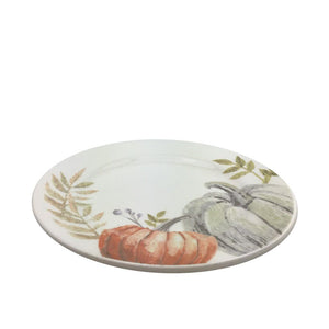 Harvest Pumpkin Plate White Orange 8 Inches