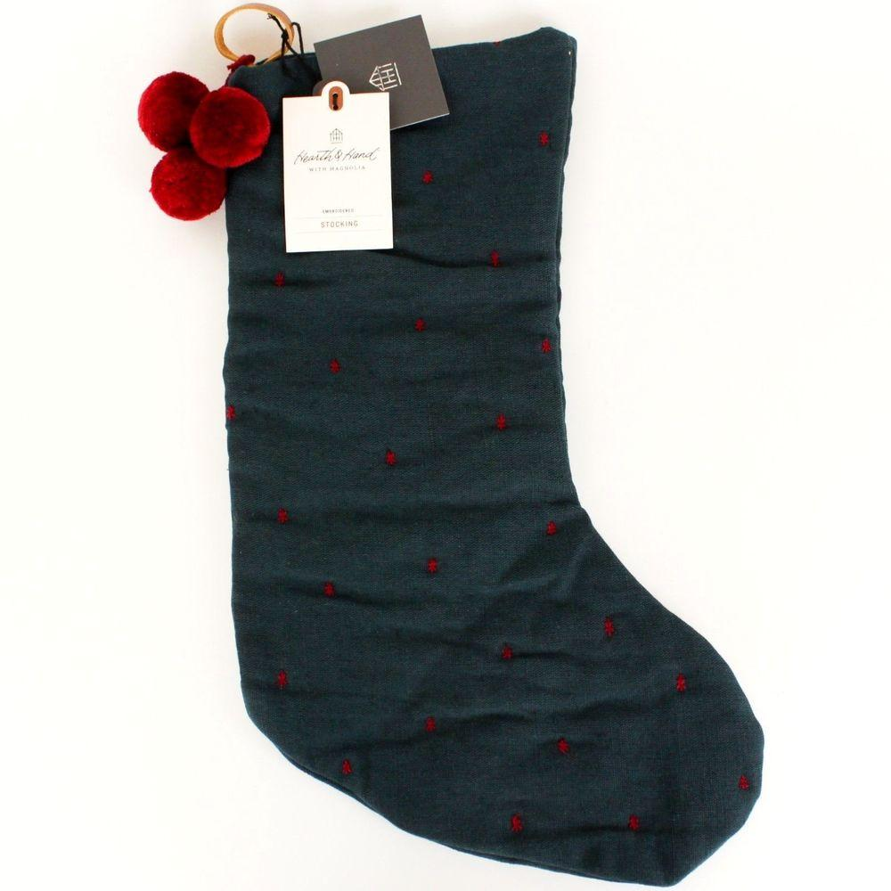 Hearth & Hand Green Embroidered Stocking