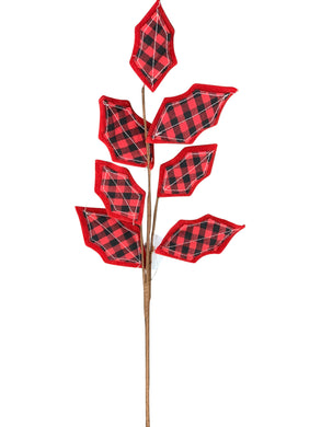 Holley Leaf Spray 27 Inches Long  2 Styles Buffalo Plaid