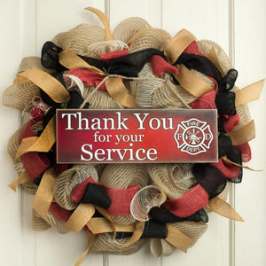 Thank You Firefighters Wooden Sign