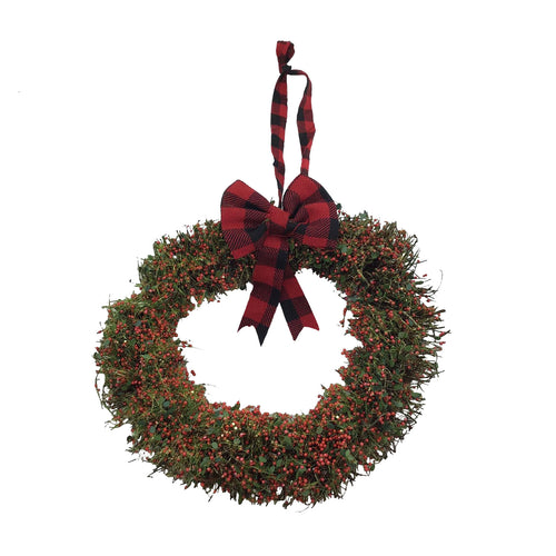 12 Inch Berry Wreath With Red/Black Plaid Bow