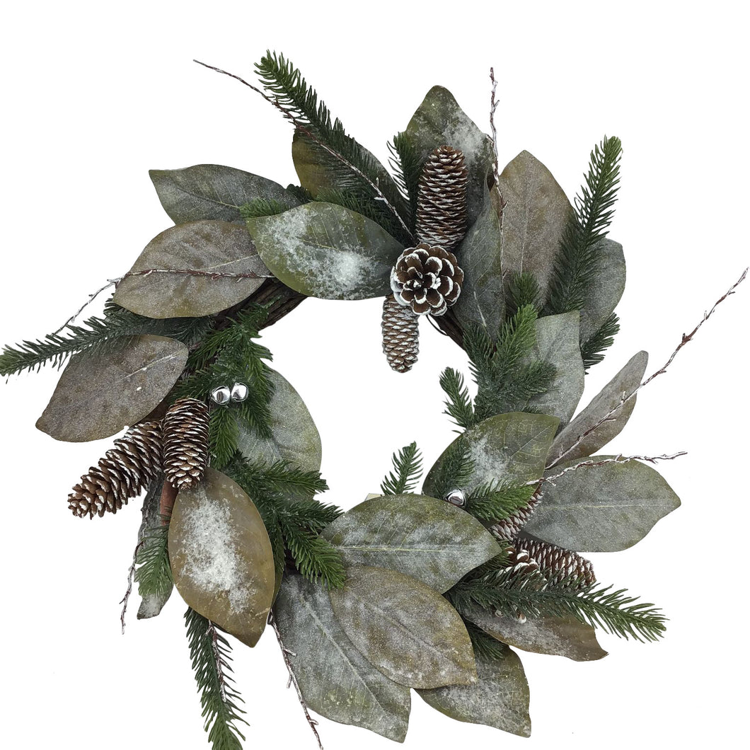 Magnolia Leaf And Pinecone 22 Inch Wreath
