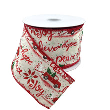 Ivory Linen Ribbon With Red Truck 2.5 Inch 10 Yard Roll