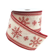 Cream Ribbon With Stitched Red Snowflakes