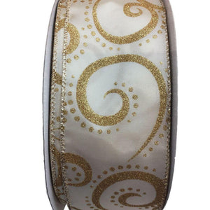 Ivory Satin With Gold Glittered Swirls 2.5 Inch By 50YD Ribbon