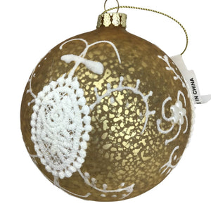 Yellow Filigree Lace Glass Ball Ornament
