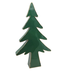 Large Metal Green Gold Trim Tree