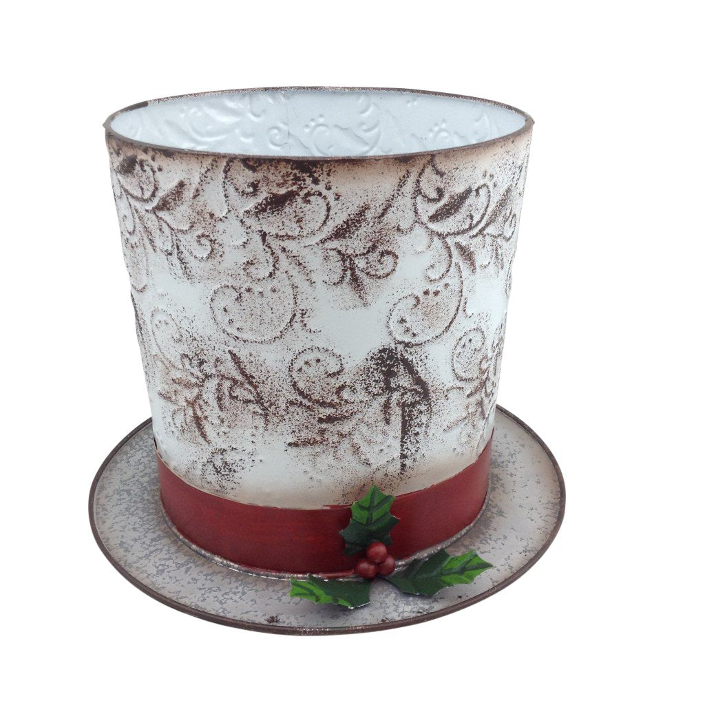 Large White Wash Metal Top Hat Planter