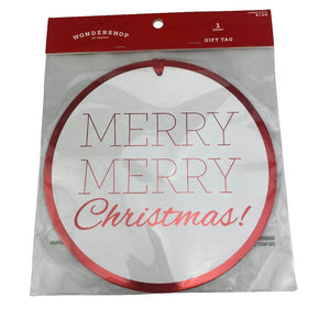 "Extra Large Gift Tag - ""Merry Merry Christmas"""