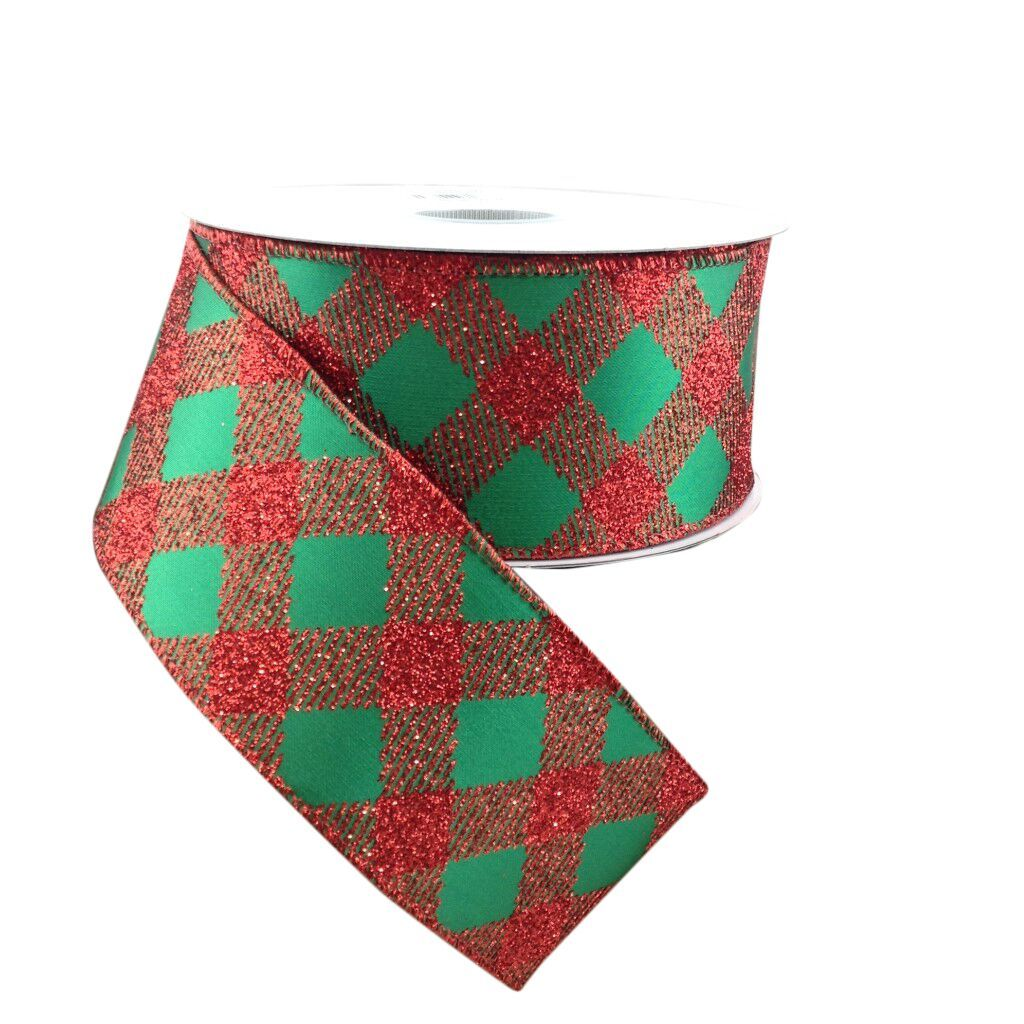 Lattice Diamond Glitter Red And Green Ribbon