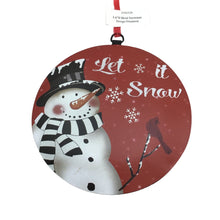 6 Inch Metal Snowman Design Disk Ornament in 3 Styles