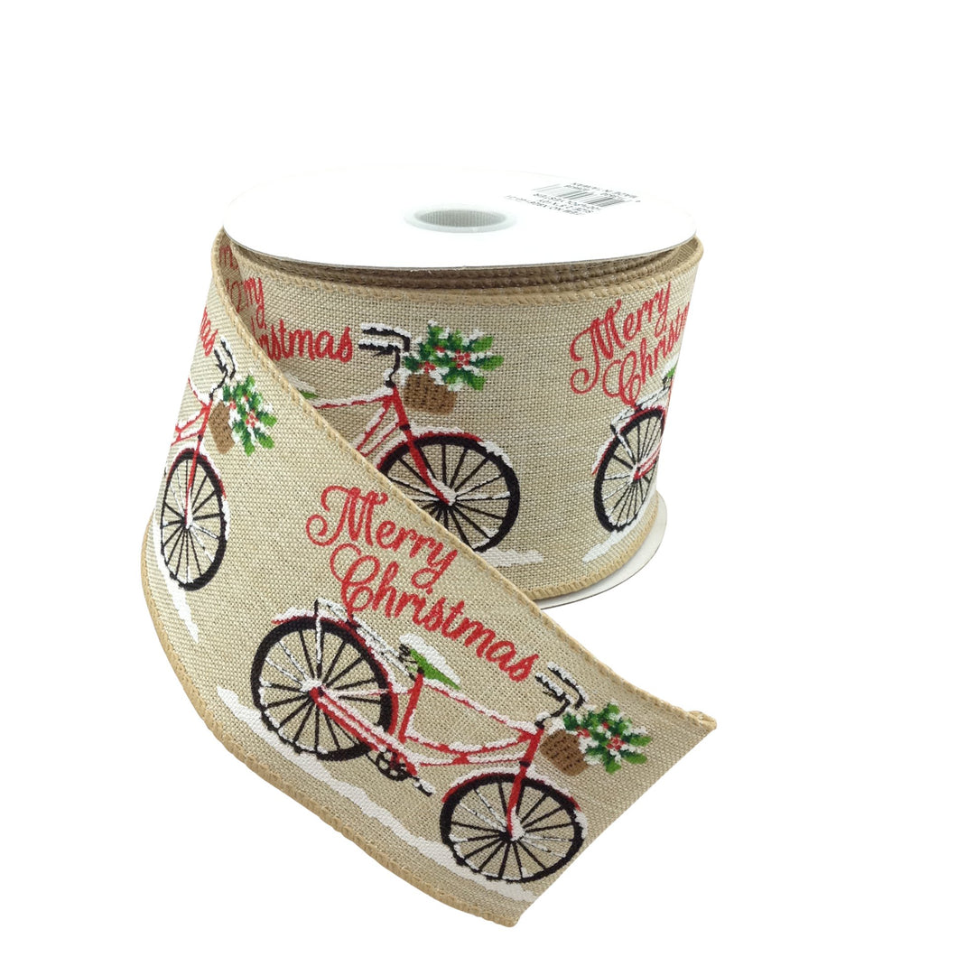Light Natural Linen Ribbon With Christmas Bicycle 2.5 Inch 10 Yard Roll