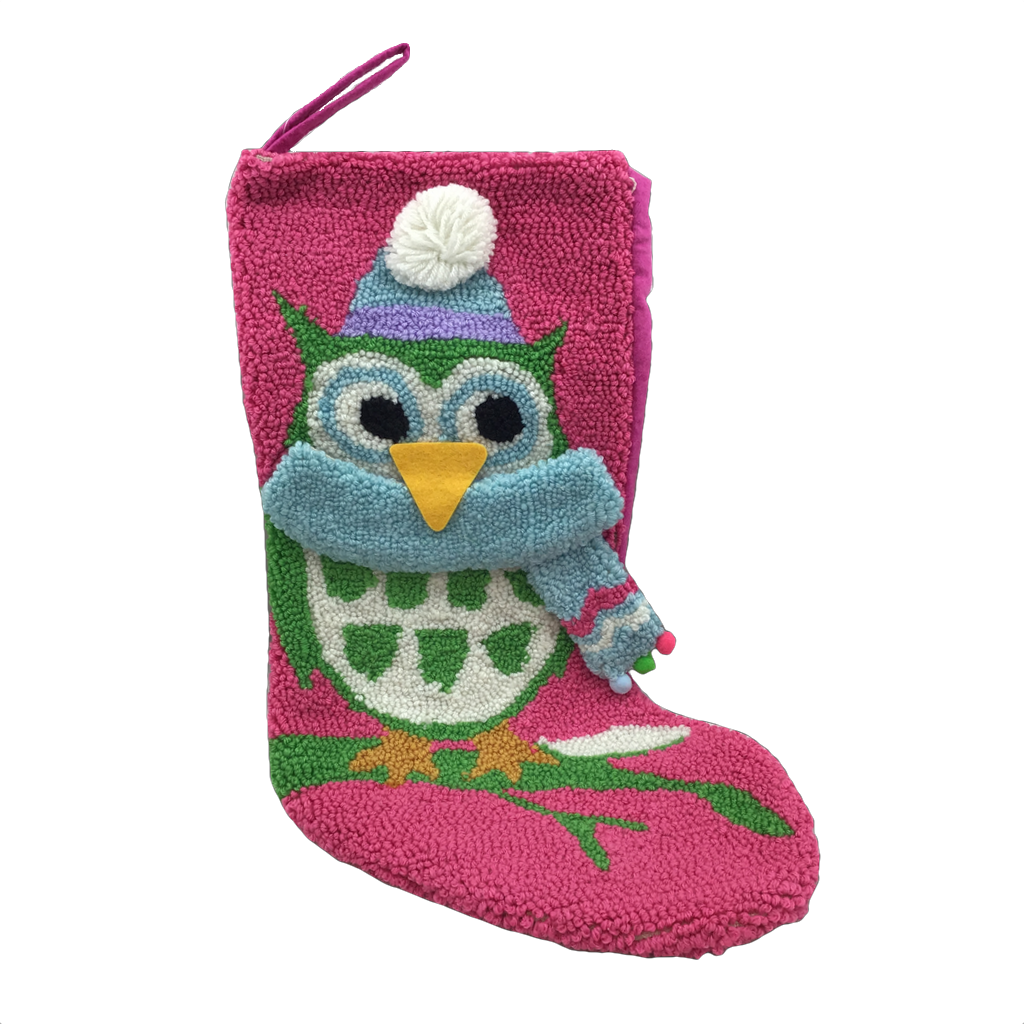 Lime Green and Pink Scarfed Owl Stocking