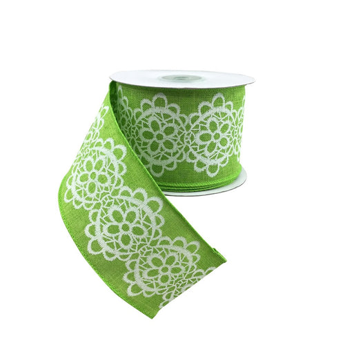 Linen and Lace Green Wired Edge Ribbon #40