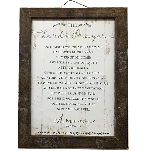 The Lords Prayer with Wood Frame