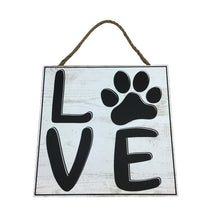Love Paw Print Square Wooden Sign