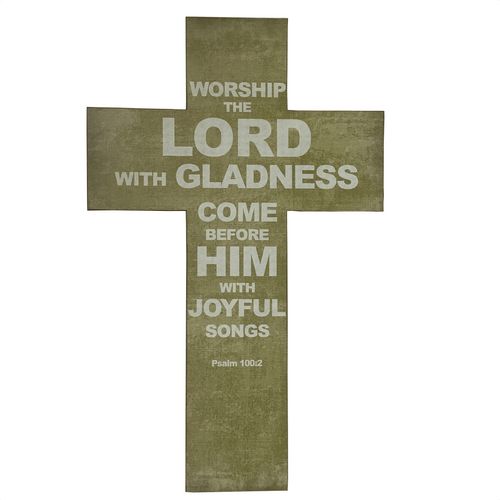 MDF Burlap Psalm 100:2 Text Cross
