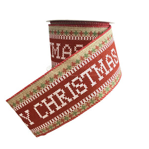 Merry Christmas Stitched Writing 2.5 Inch Wired Ribbon