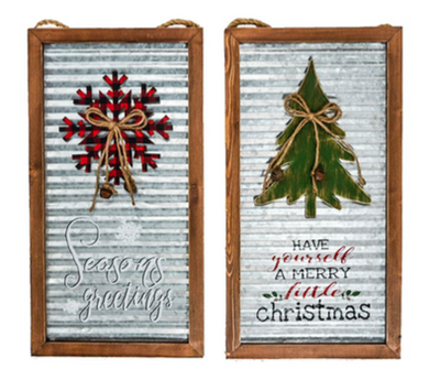 Metal Christmas Signs With Wood Frames 2 Assorted Styles