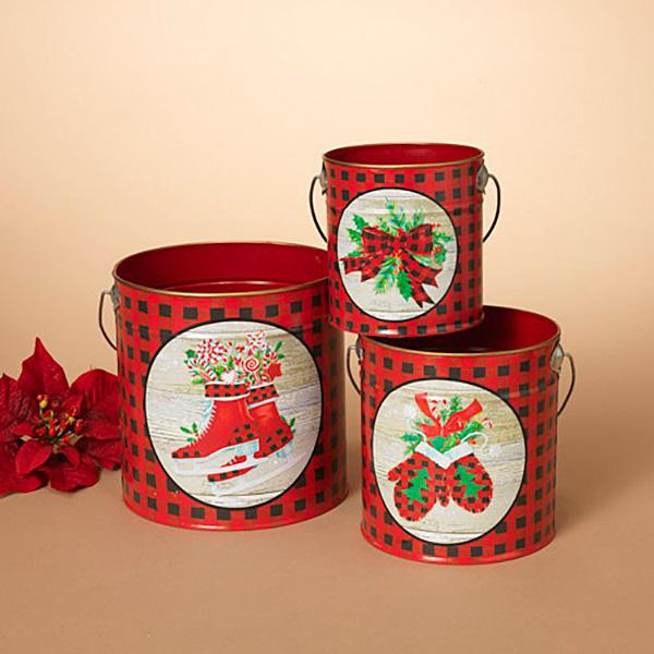 Metal Holiday Design Buckets - Set of 3