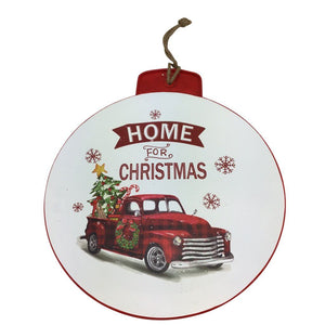 Metal Holiday Sign Ornament 18 Inch- 3 Styles