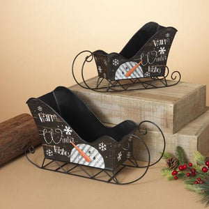 Metal Sleighs w/ Holiday Detailing - Set of 2