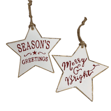 Metal Star Oranament White Enamel With Red Writing 3 Styles