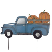 Metal Truck Yard Stake With Pumpkins In The Back