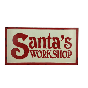 Metal Wall Sign White Enamel Santa Workshop