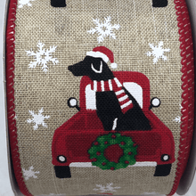 Natural Linen Ribbon Red Christmas Truck With Black Dog 2.5 Inch 10 Yard Roll