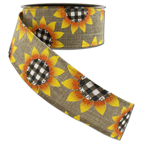 Natural Linen with Buffalo Plaid Sunflowers 1.5 Inch x 10 Yard Ribbon