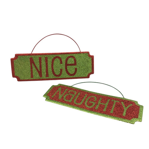Naughty or Nice Glitter Metal Sign
