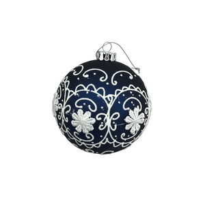 Raised Flower and Scallop Glass Ball Ornament
