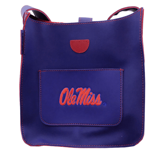 Ole Miss Navy Blue Vinyl Purse With Pocket