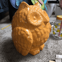 Orange Ceramic Owl