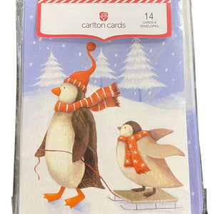 Penguin Sledding Carlton Holiday Cards- 14 Count