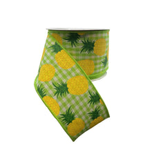 Pineapples On Woven Check 2.5 Inch Ribbon