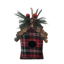 Plaid Bird House Ornaments - 2 Styles