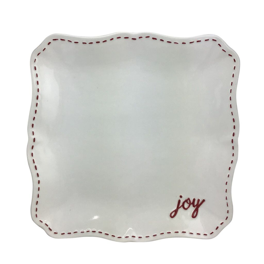 Platter White And Red With Joy