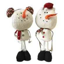Plush Standing Snowman Figurine - Two Styles
