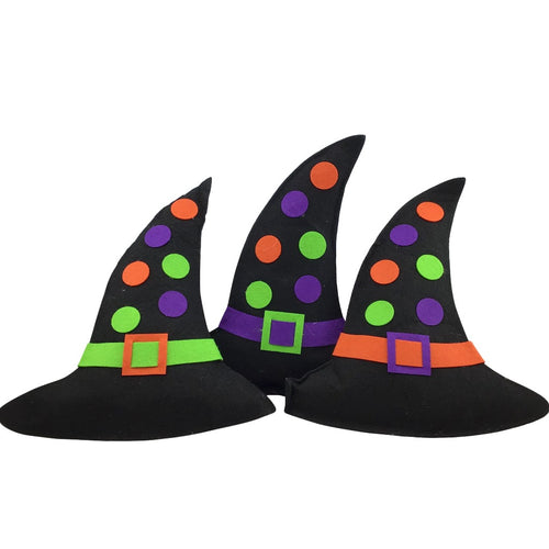 Felt Polka Dot Witch Hat Large Ornament - 3 Styles