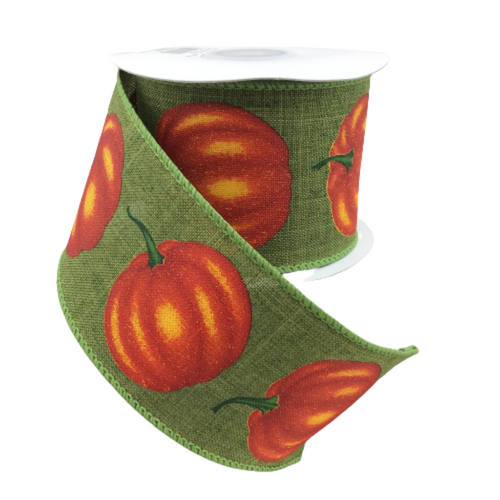 Black and Orange Pumpkins Wired Ribbon 9 Feet 2.5 Inches Wide