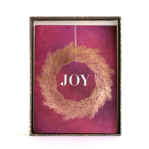 8 Count Minted Purple Joy Wreath Holiday Boxed Cards