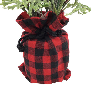 12 Inch Berry And Pine In Red & Black Check Bag