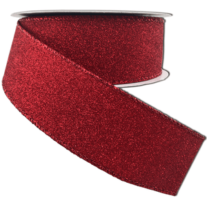 Red All Flat Glitter Ribbon 1.5 Inch 10 Yard Roll