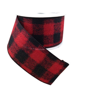 Red And Black Brushed Buffalo Plaid Ribbon 2.5 Inch 10 Yard Roll