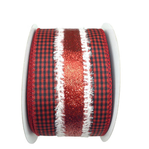 Red And Black Buffalo Plaid Ribbon 2.5 Inch 10 Yard Roll