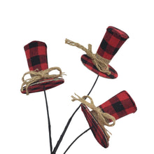 Red And Black Buffalo Plaid Top Hat Spray
