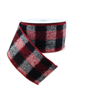 Red Black White Brushed Buffalo Plaid Ribbon 2.5 Inch 10 Yard Roll