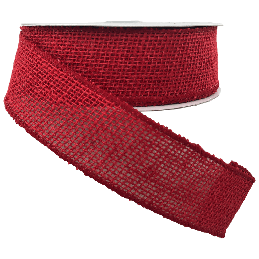Red Burlap Ribbon 1.5 Inch 10 Yard Roll